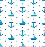 Seamless Pattern with Sail Boats and Anchors, Nautical Blue Royalty Free Stock Photos