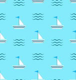 Seamless Pattern with Sail Boats on Blue Background Royalty Free Stock Image