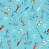 Seamless pattern with sailboat, anchor, lobster, oar and lifebuoy. Cute Marine pattern for fabric, baby clothes, background, textile, wrapping paper and other Stock Photography