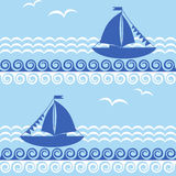 Seamless pattern with sailboat and waves. Decorative maritime background with sailboat and waves. Vector illustration stock illustration