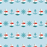Seamless pattern of sailboats, anchors and steerin Royalty Free Stock Photo