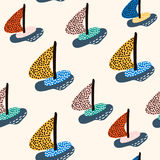 Seamless pattern with sailboats. Marine summer modern background. Vector Illustration stock illustration