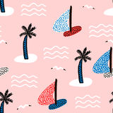 Seamless pattern with sailboats. Marine summer modern background. Vector Illustration royalty free illustration