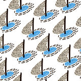 Seamless pattern with sailboats. Marine summer modern background. Vector Illustration Stock Image