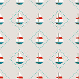Seamless pattern with sailboats Royalty Free Stock Image