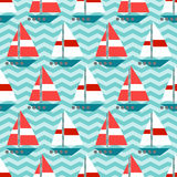 Seamless pattern with sailboats on the waves Royalty Free Stock Photo
