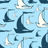 Seamless pattern with sailing boats Royalty Free Stock Photography