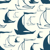 Seamless pattern with sailing boats Royalty Free Stock Photo