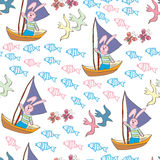 Seamless pattern with  sailing bunny Stock Photo