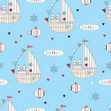 Seamless pattern with sailing ship and cats Stock Photos