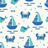 Seamless pattern with sailing ship, fish and crabs stock illustration
