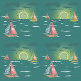 Seamless pattern with sailing-ship, sunset and clouds Stock Image