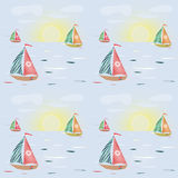 Seamless pattern with sailing-ship, sunset and clouds background Royalty Free Stock Image