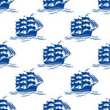 Seamless pattern of a sailing ships Royalty Free Stock Images