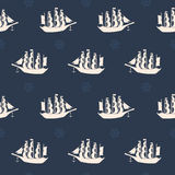 Seamless pattern with sailing ships. Stock Photos