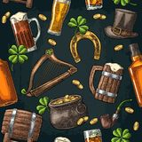 Saint Patrick Day. hat, Pot coins, pipe, beer, lyre, horseshoe. Seamless pattern Saint Patrick s Day. Top gentleman hat, pot of gold coins, pipe, beer glass Stock Images