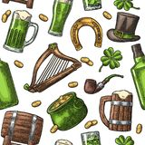 Saint Patrick Day. hat, Pot coins, pipe, beer, lyre, horseshoe. Seamless pattern Saint Patrick s Day. Top gentleman hat, pot of gold coins, pipe, beer glass Royalty Free Stock Photos