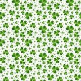 Seamless pattern with Saint Patricks shamrock leaves Stock Photos