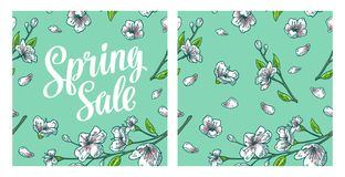 Seamless pattern sakura blossom. Cherry branch with flowers and bud. Seamless pattern sakura blossom. Spring Sale lettering. Cherry branch with flowers and bud royalty free illustration