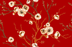Seamless pattern with sakura branch. Sakura branch on red background. Vector seamless pattern. Floral design oriental style. Vintage. Black white red. Beautiful Stock Photo