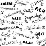 Seamless pattern of sale in black color. Seamless pattern of sale advertisement in different languages Stock Images