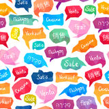 Seamless pattern. Sale on different languages Stock Photos