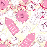 Seamless pattern with sale labels and fashion accessories Royalty Free Stock Image