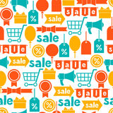 Seamless pattern with sale and shopping icons Stock Photos
