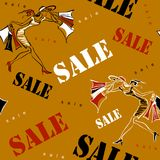 Seamless pattern. Sale. Shopping on site. Girls on shopping. Cheerful print dedicated to sales and discounts in stores. Vector ill stock illustration