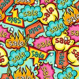 Seamless pattern of sale speech bubbles and labels Stock Photos