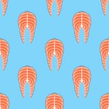 Seamless pattern with salmon steak. Vector texture. Seamless pattern with salmon steak on blue background. Vector texture Royalty Free Stock Image