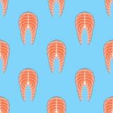Seamless pattern with salmon steak. Vector texture. vector illustration