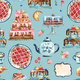 Seamless pattern of  sandwich cake on the dish. Watercolor illustration. Seamless pattern of  sandwich cake on the dish, cup  of coffe and croissant Stock Images