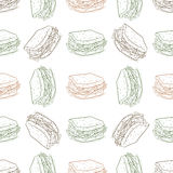 Seamless pattern sandwich scetch Stock Images