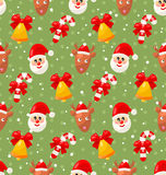 Seamless pattern with Santa Claus and Christmas Stock Images