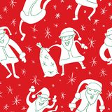 Seamless pattern with Santa Claus. Christmas and New Year background in cute doodle style. Vector winter illustration for textile, fabric and surface design vector illustration
