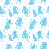 Seamless pattern with Santa Claus. Christmas and New Year background in cute doodle style. Vector winter illustration for textile, fabric and surface design stock illustration