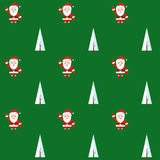 Seamless pattern with santa claus and christmas tree. Background for invitation, poster, greeting cards, wallpaper. Stock Images