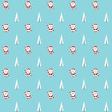 Seamless pattern with santa claus and christmas tree. Background Royalty Free Stock Image