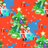Seamless pattern of Santa Claus and Christmas tree in New Years. Balls on a red background vector illustration Royalty Free Stock Image