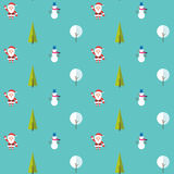 Seamless pattern with santa claus, christmas tree, snowman and tree under the snow. Background for invitation, poster Stock Photo