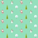 Seamless pattern with santa claus, christmas tree, snowman and tree under the snow. Background for invitation, poster Royalty Free Stock Photos