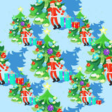 Seamless pattern of Santa Claus and fishbone in New Years balls. On a blue background vector illustration Royalty Free Stock Photography