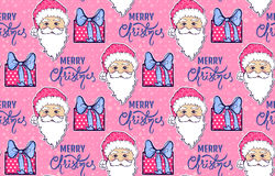 Seamless pattern with Santa Claus, gift box and Merry Christmas Stock Image