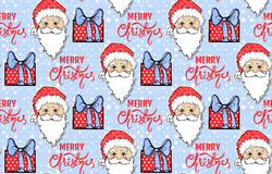 Seamless pattern with Santa Claus, gift box and Merry Christmas Royalty Free Stock Image