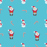 Seamless pattern with Santa Claus, snowman and candy cane Royalty Free Stock Photography