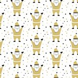 Seamless pattern with Santa Claus on the white background. Vector illustration Royalty Free Stock Images