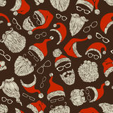 Seamless pattern of Santa hats, moustache, beards and eyeglasses. Hand-drawn Christmas illustration. Boundless background can be used for web page backgrounds Royalty Free Stock Photo