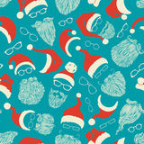 Seamless pattern of Santa hats, moustache, beards and eyeglasses. Vector red, white and blue illustration. Boundless background can be used for web page Royalty Free Stock Photos