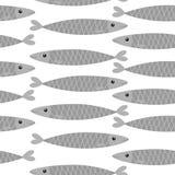 Seamless Pattern. Sardine gray fish icon set. Iwashi.. Sardina pilchardus. Cute cartoon character. Anchovy pilchard. Water animal. Marine life. Flat design Royalty Free Stock Photo